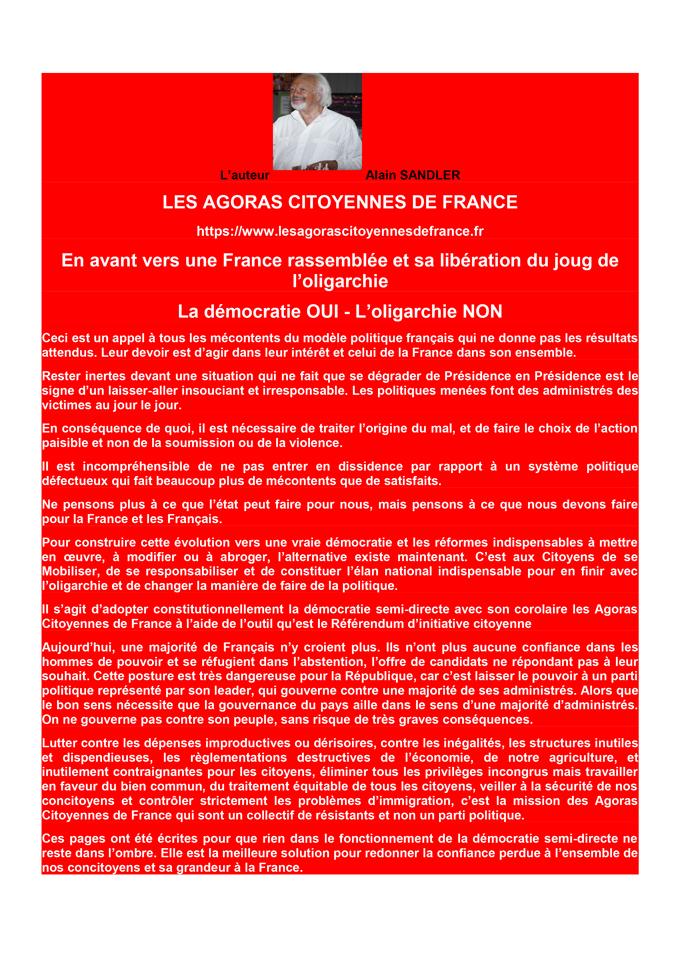Préface livre les Agoras Citoyennes de France